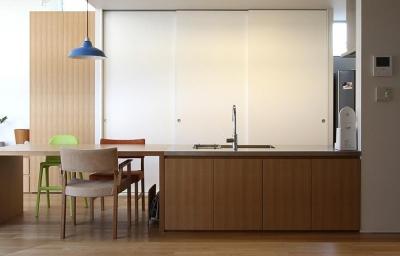 シンプルなダイニングキッチン (『津幡町の家2』共有庭に面した屋外リビングのある住まい)