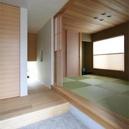 客間と一体になる玄関土間