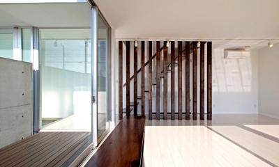H-House <L窓の家> (木製ルーバーの設置された階段)