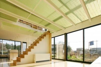ガラス張りの明るい1階LDK (K-House <空中リビングのある家>)