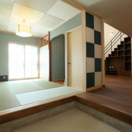 玄関土間と一体になる和室