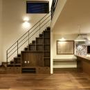 階段下-テレビボードと造作棚