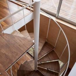『よみうりランド前の家』仕事と主婦業の両立がしやすい住まい (螺旋階段)