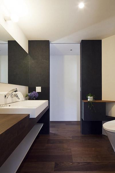 『浅間町の家』黒と深みのある木目が調和する落ち着きのある空間の写真 落ち着きのあるトイレ空間