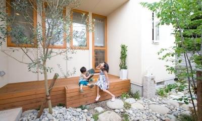 オリーブの木とデッキ|『クローバー house』オリーブの木が家族を見守る住まい