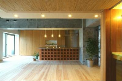 デザイン性の高いオープンキッチン (『ハイサイはうす』素材感、質感を生かすマンションリノベ)