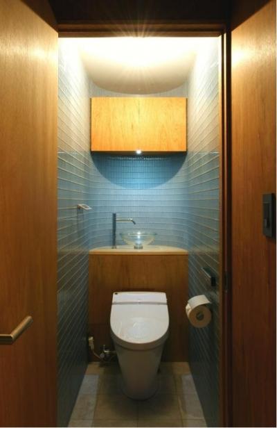 ガラスタイル壁のトイレ空間 (『ハイサイはうす』素材感、質感を生かすマンションリノベ)