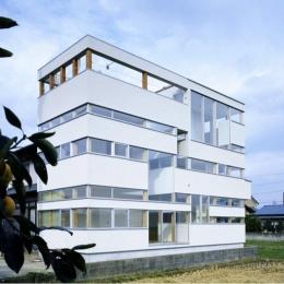 『ノンちゃんのいえ』家族の気配・風景がひとつながりの家 (白い帯状の壁で囲った外観)