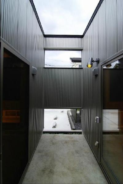 高崎T邸・正直素材仕上げの家 (建物中心にある中庭)