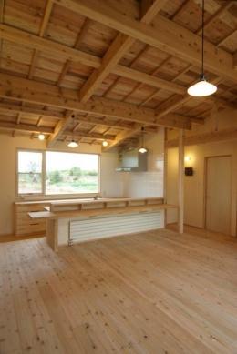 『須田の家』雄大なロケーションに建つアトリエ付き平屋住宅 (自然素材に囲まれたLDK)