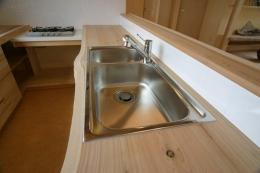 『須田の家』雄大なロケーションに建つアトリエ付き平屋住宅 (キッチン-木のワークトップ)