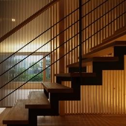 『銭函 光庭の家』質感の深みが感じられるシンプルな住まい (スケルトン階段)