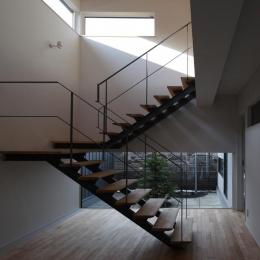 『マロニエ通りの家』家族を心地よく、緩やかにつなぐ二世帯住宅 (開放的な吹き抜け階段室-1)