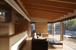 『マロニエ通りの家』家族を心地よく、緩やかにつなぐ二世帯住宅 (ガラス張りの子世帯リビング)