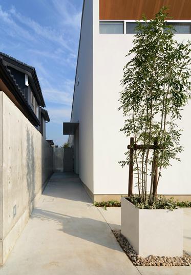 『YM-house』光と風を採り込む方流れ屋根の家の部屋 建物脇のアプローチ