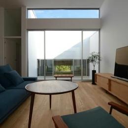 『YM-house』光と風を採り込む方流れ屋根の家 (リビングよりライトコートを見る)