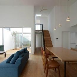 『YM-house』光と風を採り込む方流れ屋根の家 (天井の高いリビングダイニング)