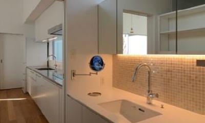 『YM-house』光と風を採り込む方流れ屋根の家 (キッチンとつながる洗面室)