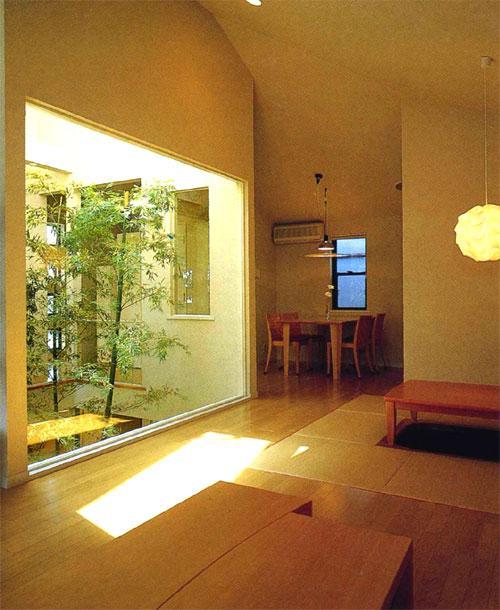 『世田谷S邸』鮮やかな竹のアプローチを持つ家の写真 中庭より夕日の差し込むリビングダイニング