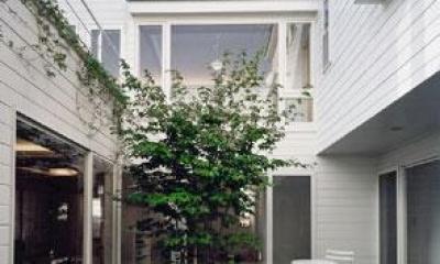 『大田区K邸』中庭でつながる二世帯コートハウス (共有スペースの中庭)