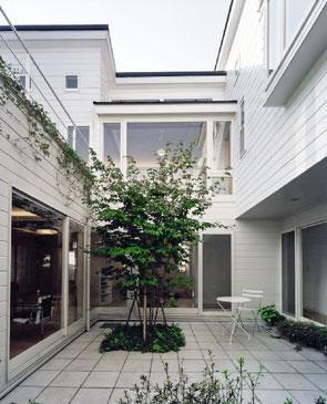 『大田区K邸』中庭でつながる二世帯コートハウスの部屋 共有スペースの中庭