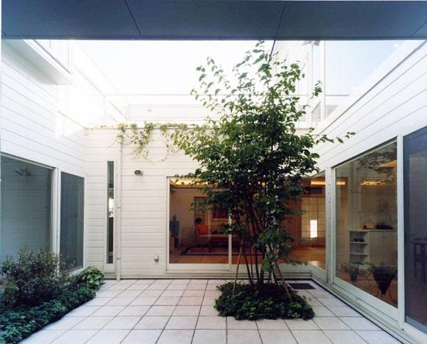 『大田区K邸』中庭でつながる二世帯コートハウスの部屋 家族をつなぐ開放的な中庭