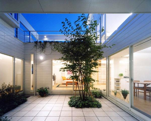 『大田区K邸』中庭でつながる二世帯コートハウスの部屋 家族をつなぐ中庭-夜景