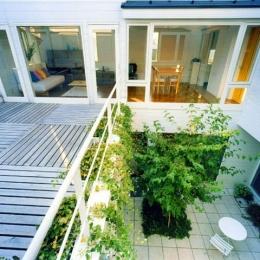 『大田区K邸』中庭でつながる二世帯コートハウス (2階リビング・バルコニー・中庭)