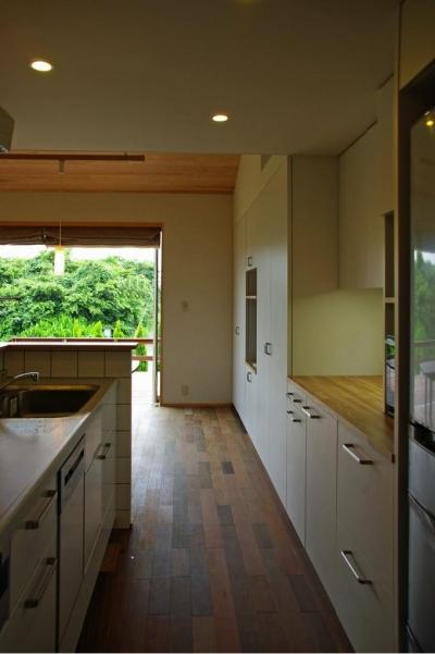 収納たっぷりのキッチン (『OH-house』スキップフロアの海の家)