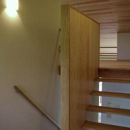 『OH-house』スキップフロアの海の家 (木製のスケルトン階段)