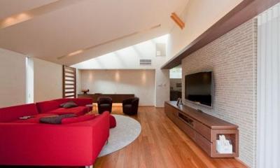 勾配天井の広々リビング|『名古屋のコートハウス』バーベキューテラスのある家
