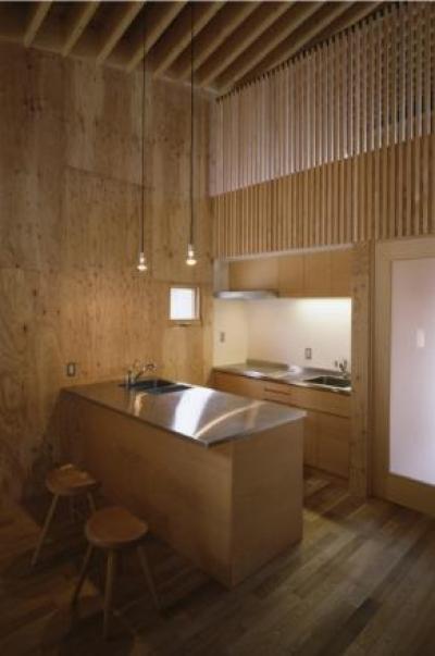 『蘭島のCOTTAGE』木に囲まれた海沿いの別荘 (吹き抜けのオープンキッチン)
