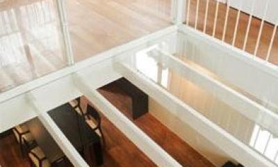 『houseS』光の間が家族間のコミュニケーションを育む家 (キャットウォークよりリビングを見下ろす)