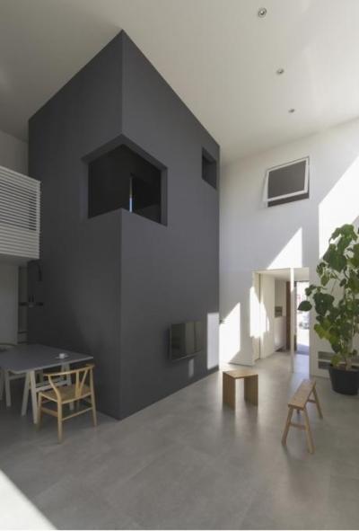 斬新デザインの吹き抜けリビング (『富木島の家』クール&斬新デザインの都会的な住まい)