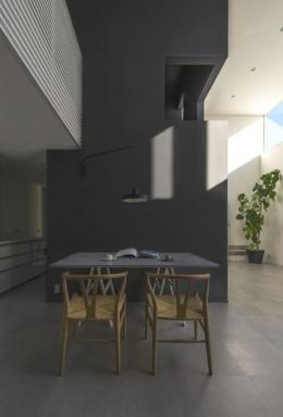 『富木島の家』クール&斬新デザインの都会的な住まい (モノトーンのクールなダイニング)