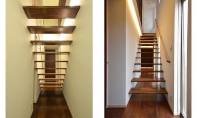 スケスケ階段|『六供後の家』門型ファサードのモダン住宅