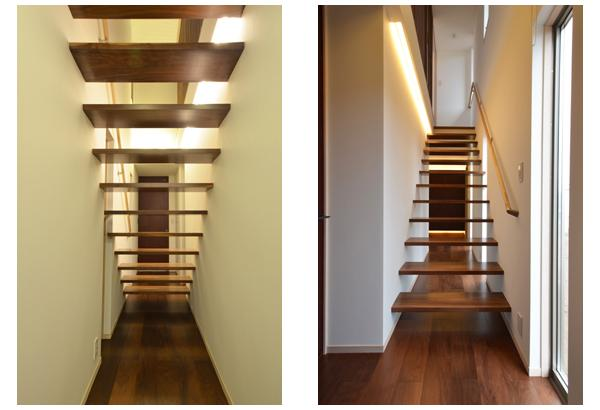 『六供後の家』門型ファサードのモダン住宅の部屋 スケスケ階段