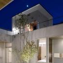 『凹[ou]』内と外の関係性を持つ住宅の写真 中庭夜景-ライトアップ