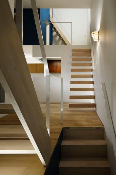 階段でつながる空間 (『big&small boxes』大きなハコの中に小さなハコをちりばめた家)