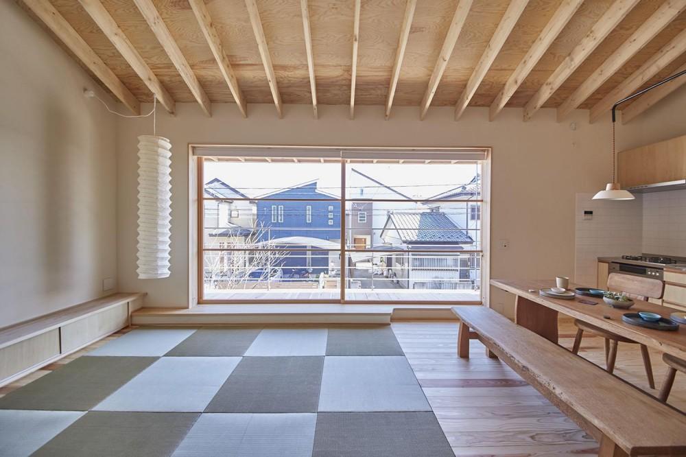 柳崎の住宅 (タタミリビングから大きな開口を眺める)