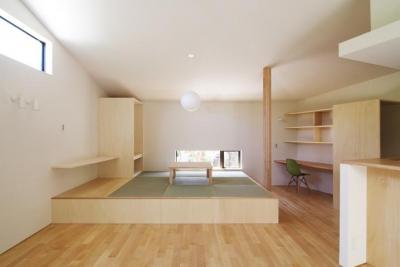 『稜線の家』様々な風景と居場所を生み出す平屋住宅 (畳コーナーのあるナチュラルなLDK)