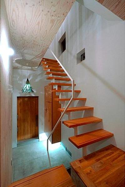玄関ホール・スケルトン階段 (『ハラッパ』絶景の眺めを楽しめる草屋根のある家)