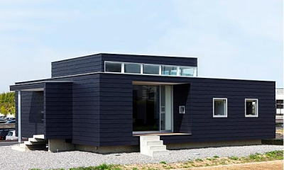 シンプルな平屋外観-1|『L/P House』パティオのようなLDKのある住まい