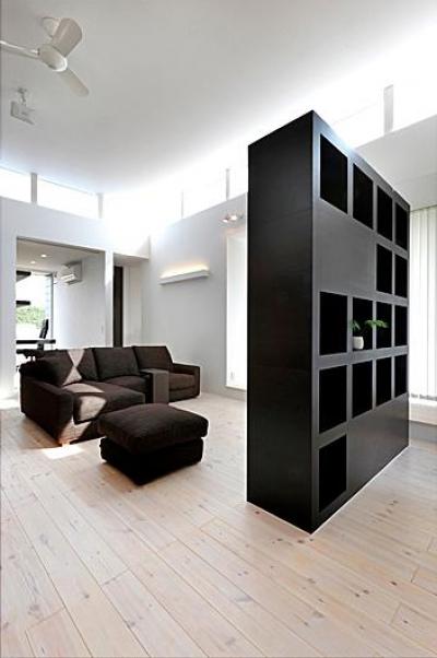 リビング-棚兼テレビボード (『L/P House』パティオのようなLDKのある住まい)
