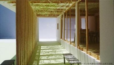 グリーンカーテンが包み込む軒下空間 (『1つの軒下/2つの縁側/4つの和』)