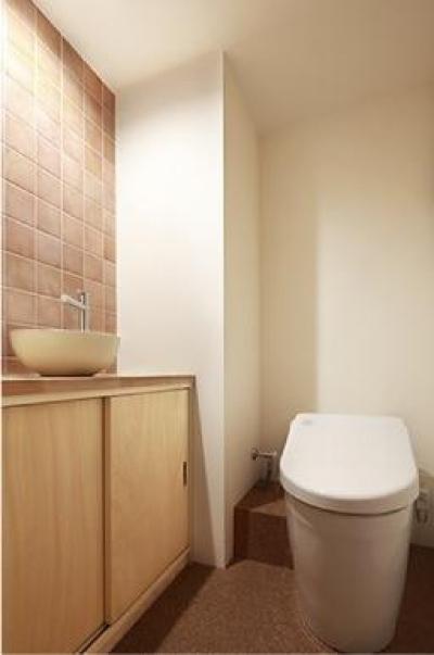 タイル壁がアクセントのトイレ (『知事公館前の家』書家のためのおおらかで明るい空間づくり)