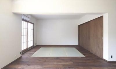 リビング内の畳スペース 『二子玉川の家』風が通り抜ける落ち着きのある空間に