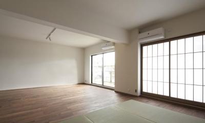 明るく開放的なリビング 『二子玉川の家』風が通り抜ける落ち着きのある空間に