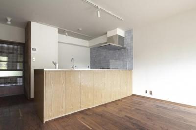 『二子玉川の家』風が通り抜ける落ち着きのある空間に (淡いブルータイルがアクセントのキッチン-1)