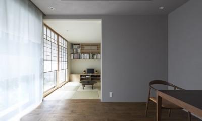 二子新地の家 木造アパートの一階を庭を楽しめる住居兼事務所に|改修 (茶の間を見る)